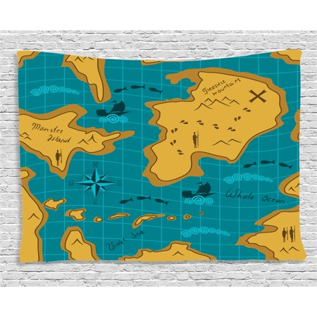 Island Map Decor Tapestry  Historical Adventure Map With Sail Boats Route Track Graphic Art Work  Wall Hanging For Bedroom Living Room Dorm Decor  60W X 40L Inches  Orange Blue  By Ambesonne