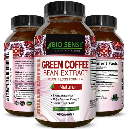 Bio Sense Green Coffee Bean Supplement for Weight Loss Natural Diet Pills Fat Burner Antioxidant with Pure 800 mg Green Coffee Beans Extract Metabolism Booster for Men and Women 60