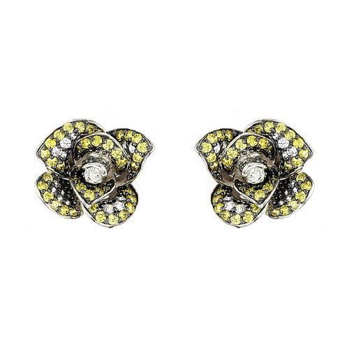 Plutus Partners Ferroni Swarovski Elements Zirconia Rose Stud Earrings