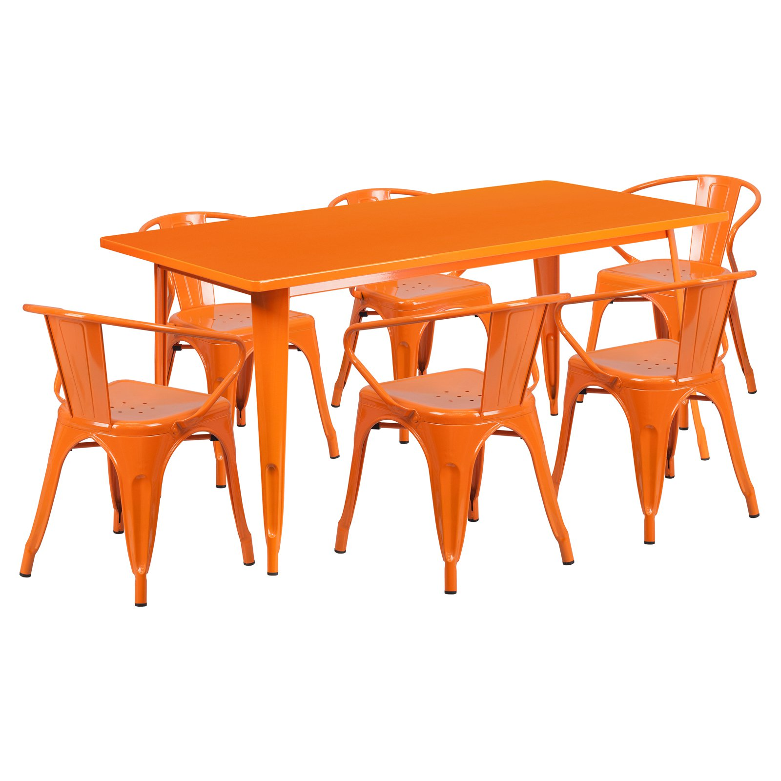 Flash Furniture 31.5'' x 63'' Rectangular Metal Indoor-Outdoor Table Set with 6 Arm Chairs Multiple Colors