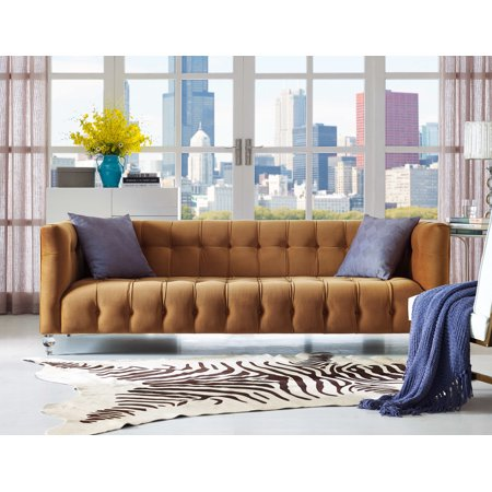 TOV Furniture Bea Cognac Velvet Sofa
