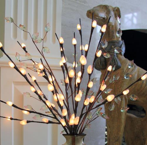 Lighted Natural Willow Branch - 3 Ft  80 BulbsIvory Fuzzy...