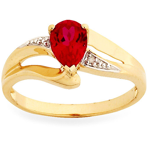 Simply Gold Gemstone 7x5mm Pear-Shaped Created Ruby and Diamond Accent 10kt Yellow Gold Ring, Size 7 by
