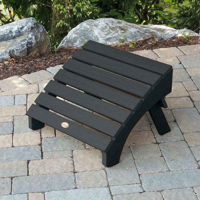 AD-OTL1-BKE Recycled Plastic Black Adirondack Outdoor Hamilton Furniture Folding Ottoman-Made in USA