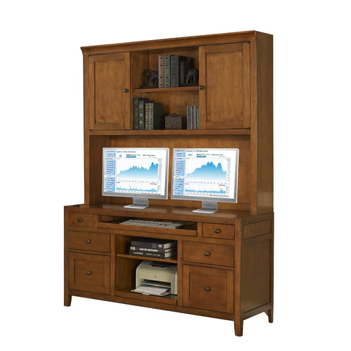 Fairfax Home Collections Companion Credenza Desk with Hutch in Maple by Fairfax Home Collections