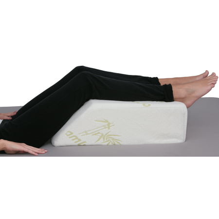 Deluxe Comfort Bamboo Leg Elevating Position Wedge Pillow (22u0022 x 15u0022 x 7u0022) - Orthopedic Medical Grade Foam - Cushioned Bamboo Pillow Cover - Pre-Post Surgery Specialty Pillow - Bed Wedge, Beige