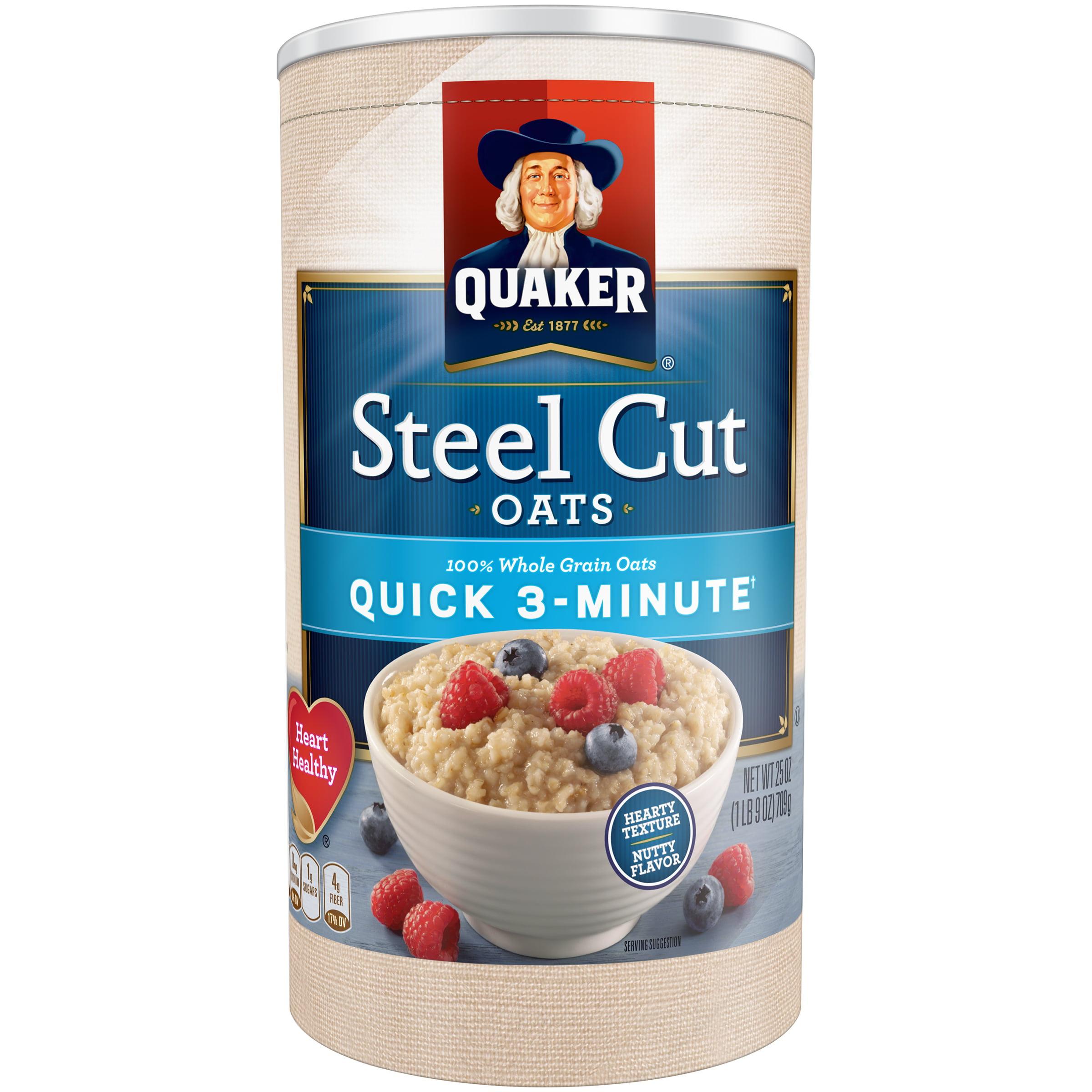 Quaker Steel Cut Quick 3-Minute Oats, 25 oz Canister