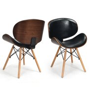2 PCs Bentwood Dining Chair Mid-Century Accent Chair Curved Back PU Leather