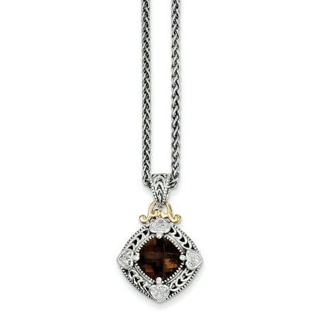 SS 0.06ct 14k Yellow Gold Diamond Smokey Quartz Vintage Style (Sale Quartz Necklace)