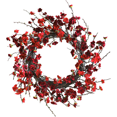"Nearly Natural 24"" Plum Blossom Wreath"