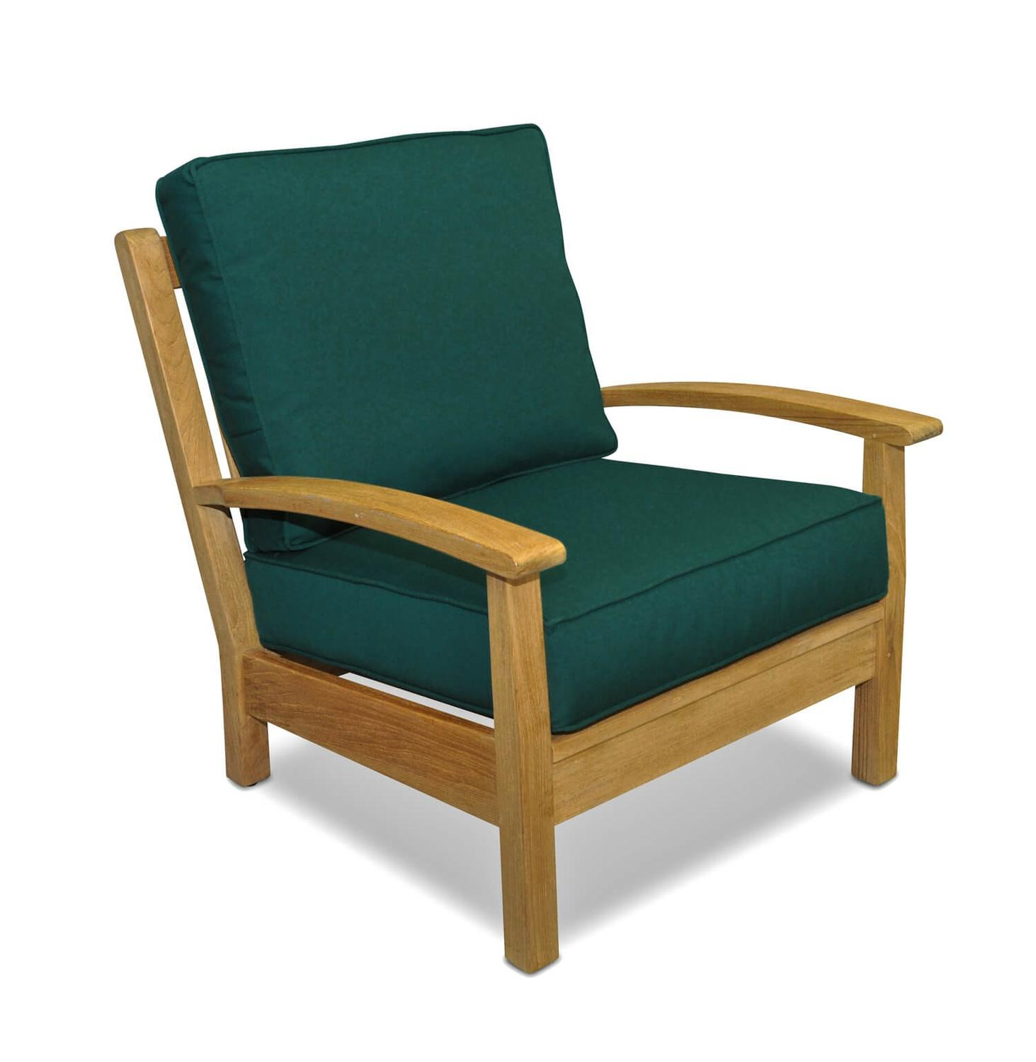 "34"" Natural Teak Deep Seating Outdoor Patio Lounge Chair with Forest Green Cushions"