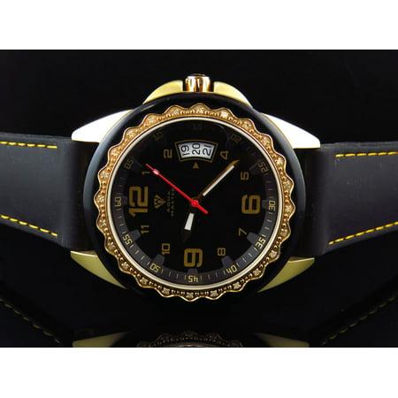 Mens Black Gold Finish 2 Tone Diamond Watch 0.25 Ct