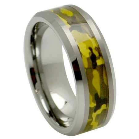 Inlay Tungsten Band (8mm Tungsten Carbide Beveled Edge With Green Camo Military Inlay Wedding Band Ring For Men Or Ladies )