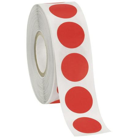 """Self-Adhesive Labels (3/4"""" Diameter Circle) - Red - 1000 Labels Per Roll"""