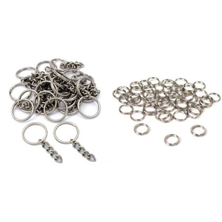 Nickel Plated Key Chain Rings W/ Chain & Split Rings Jewelry Connectors 50 Pcs (Jewelry Connectors)