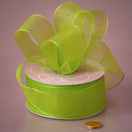 Lime Green Solid 1-1/2 inches x 25 yards Sheer Organza Wired Ribbon - Lime Green Ribbon