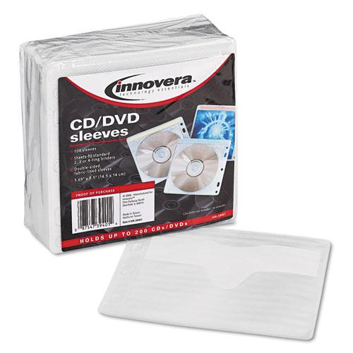Innovera 39401 Two-Sided CD/DVD Sleeves for Ring Binder, 100/Pack