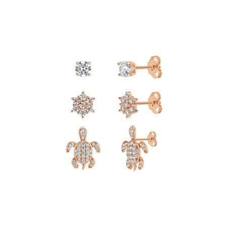 18k Rose Gold over Sterling Silver Rhodium Plated White Cubic Zirconia 3 Piece Cluster, Turtle and Stud Earrings Set (3 Piece Set Stud Earrings)