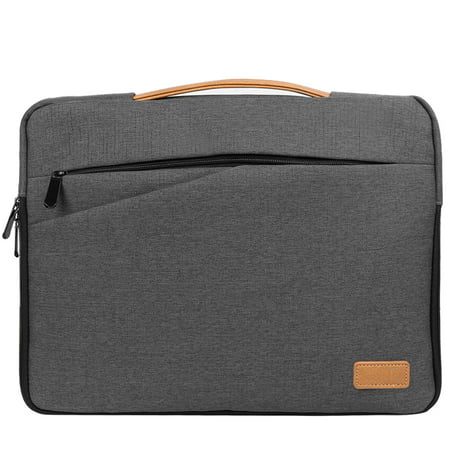 SUMACLIFE Multi-Purpose Universal Slim Nylon Laptop Sleeve Case For Laptops / Notebooks / Ultrabooks Sizes Up To 15, 15.6 Inches With Vegan Leather Handle (Gray) Leather Ladies Notebook Case
