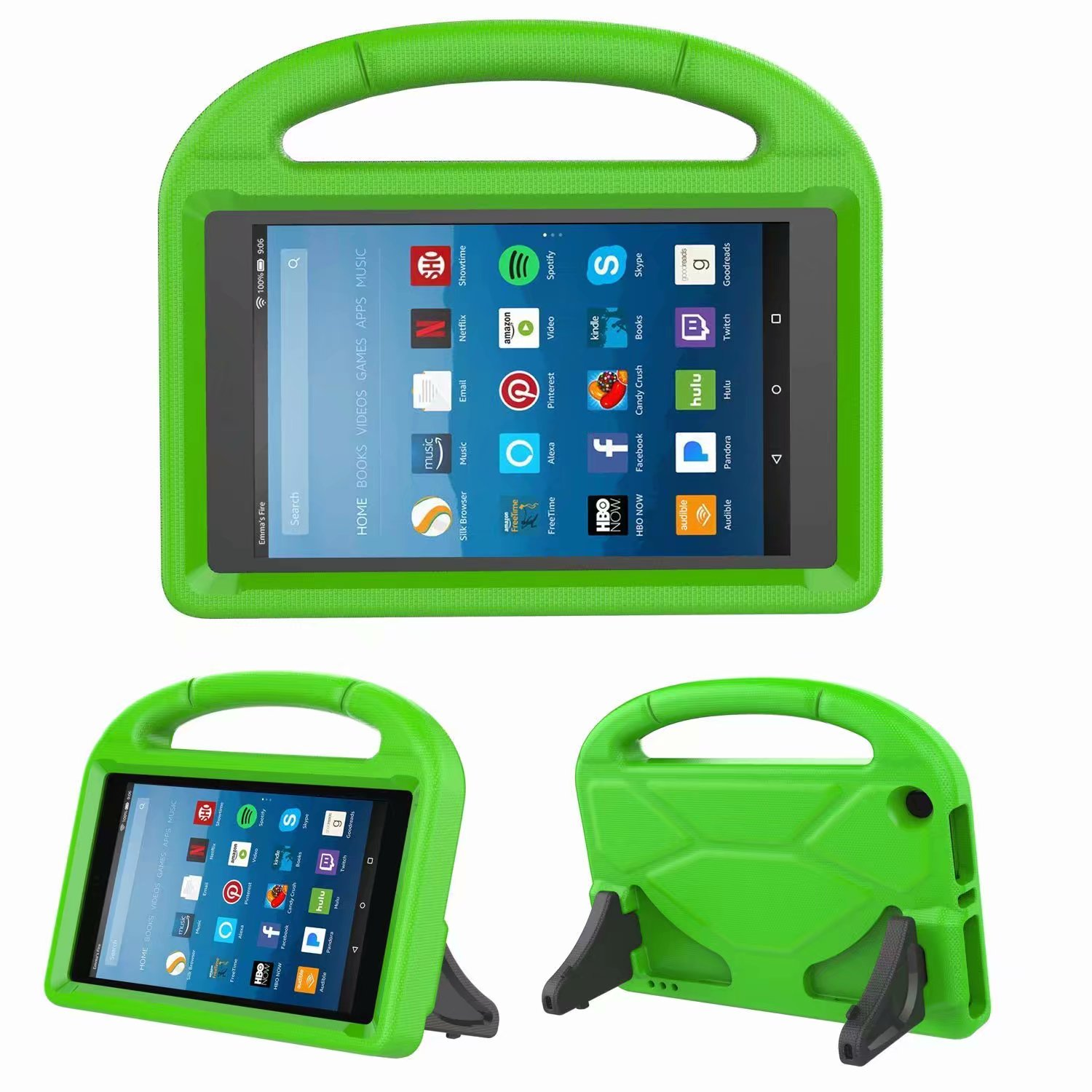 For Amazon Kindle HD8 2016/2017 Kids Safe EVA Silicone Foam Handle Case Shockproof Stand Cover