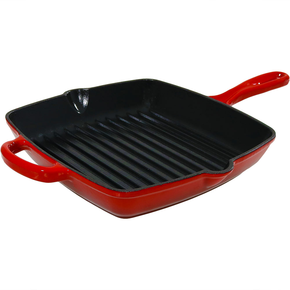 Enameled Cast Iron Pre-Seasoned 10-Inch Square Grill Pan Skillet, Red by Sunnydaze