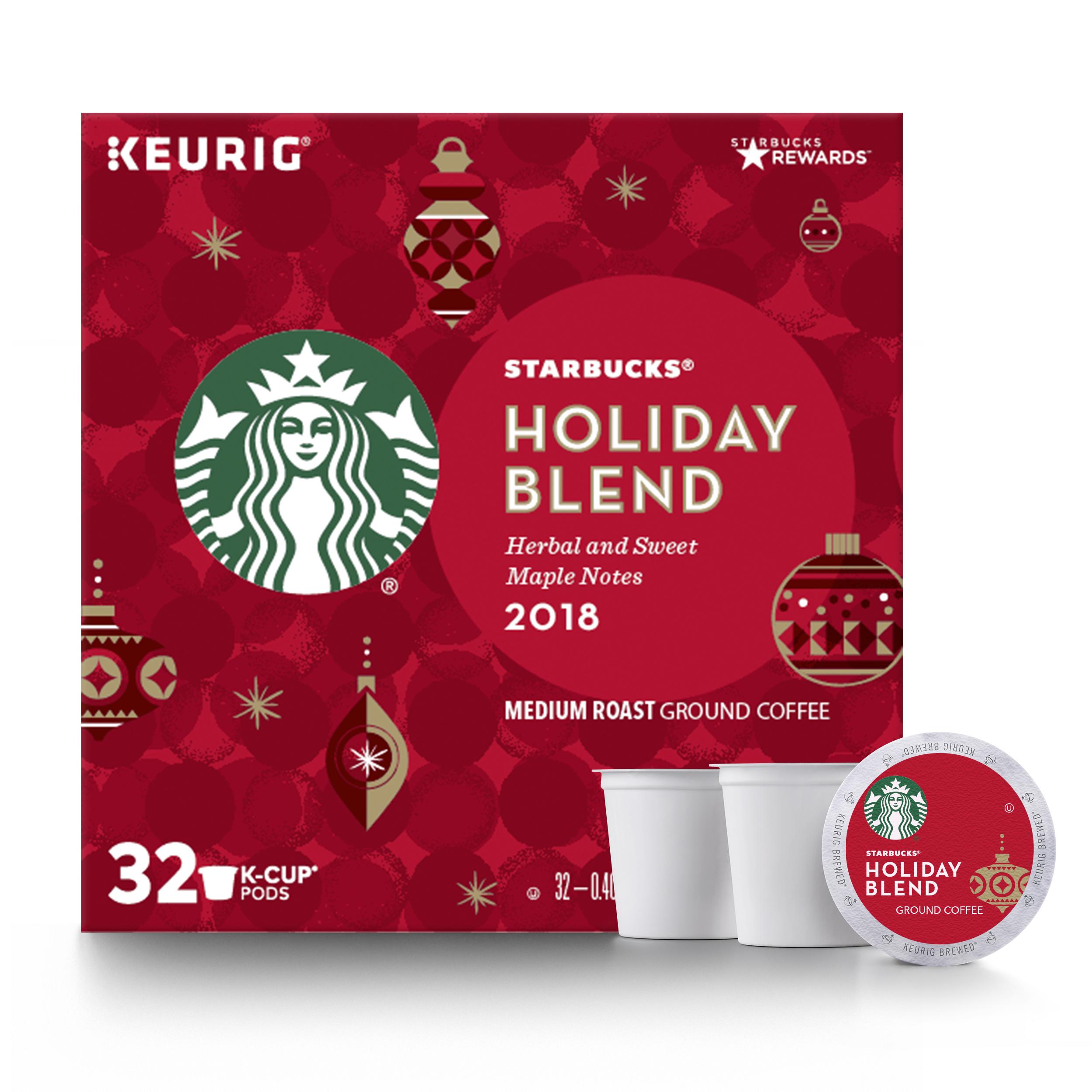 Starbucks Holiday Blend 2018 Coffee Pods, Medium Roast, 32 Count Box
