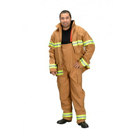 Adult Firefighter (Pants and Jacket Only) Adult Costume Brown - Large](Tan Firefighter Costume)