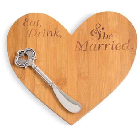Glorious Occasions - Heart Shaped Bamboo Cheese Board and Knife (Brown Cheese Knife)