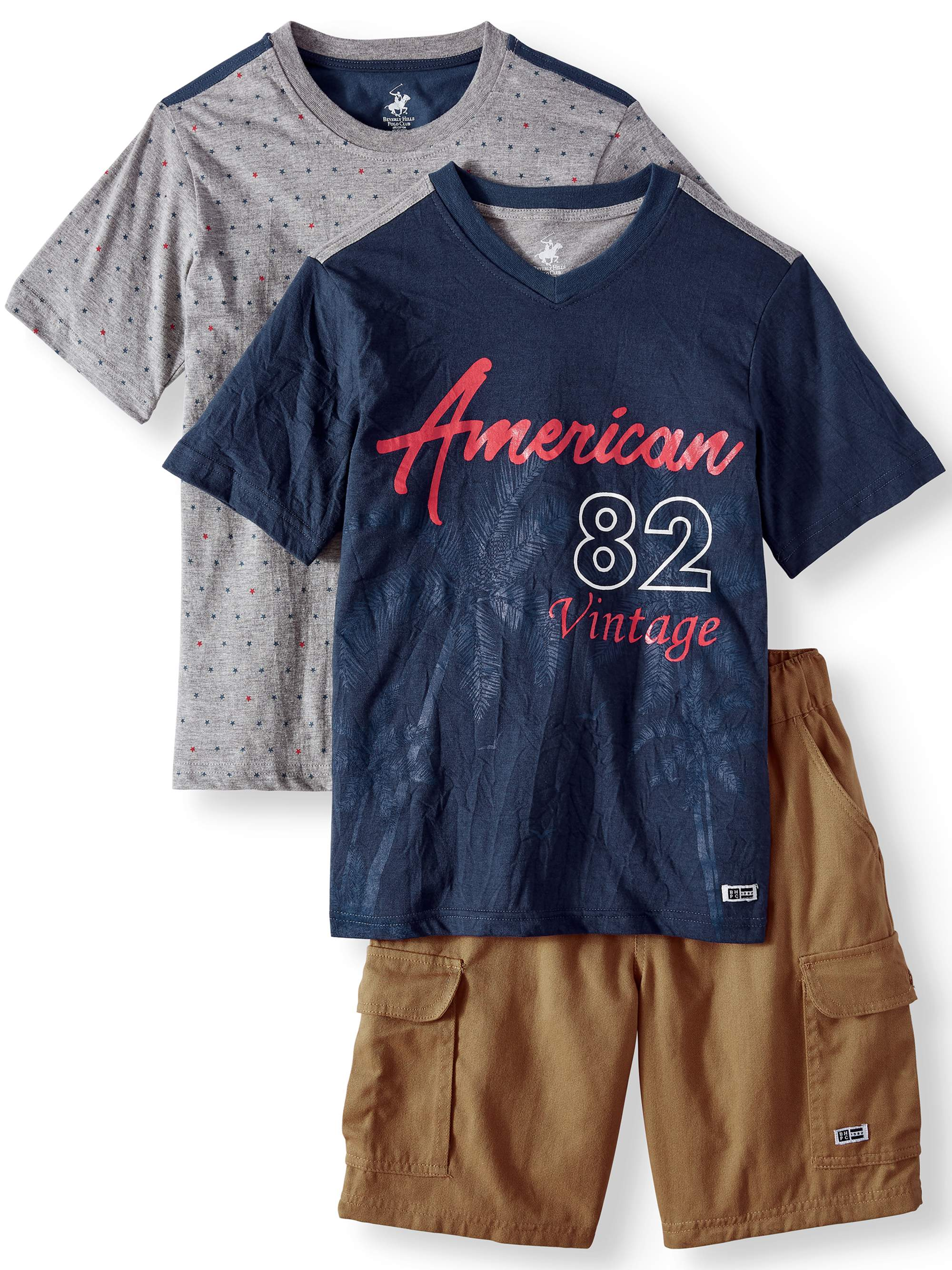 Short Sleeve Americana Tee, Star Print Graphic Tee, and Cargo Short, 3-Piece Outfit Set (Little Boys & Big Boys)