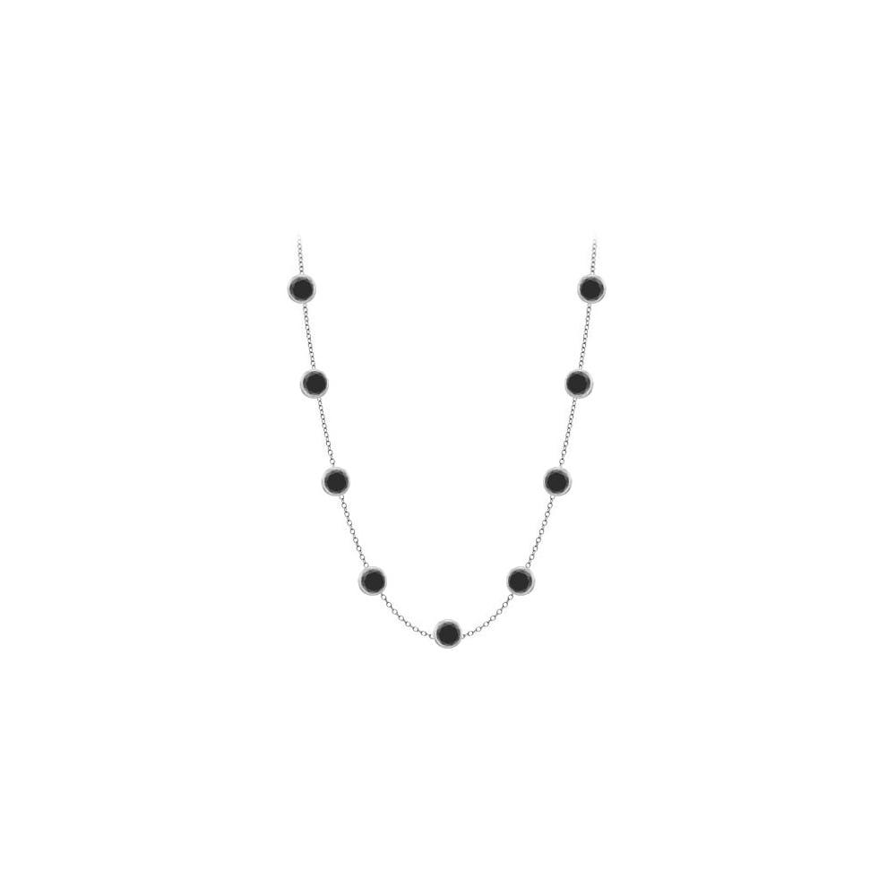 Diamonds Necklace in 14K White Gold Bezel Set 1.ct.tw Black Diamonds - image 2 de 2