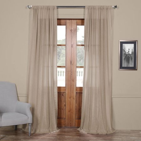 Vintage Beige 108 x 50 In. Faux Linen Sheer Curtain Panel