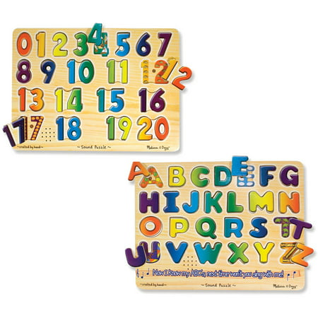 Melissa & Doug Sound Puzzles Set: Numbers and Alphabet - Wooden Peg Puzzles](Melissa And Doug Toys)