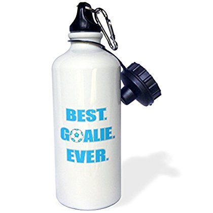 3dRose Best Goalie Ever - Blue and White, Sports Water Bottle,