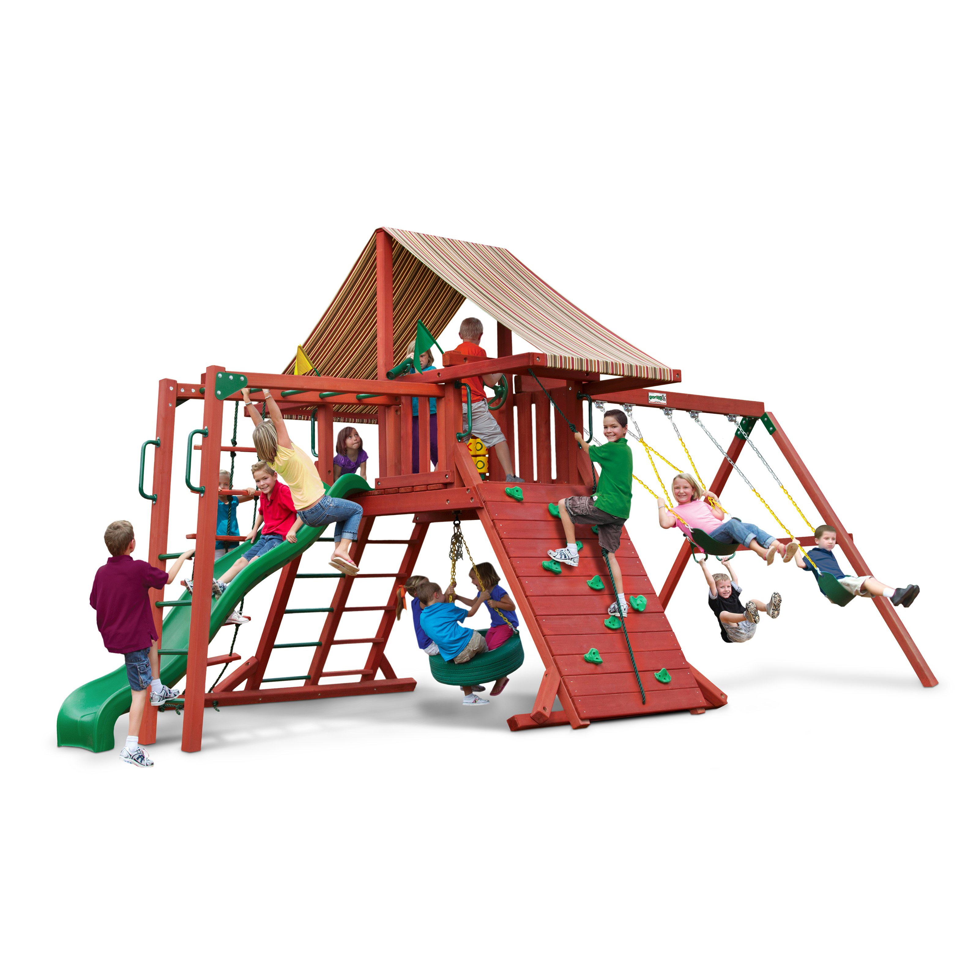 Gorilla Playsets Sun Climber II Wood Swing Set with Brannon Redwood Canopy