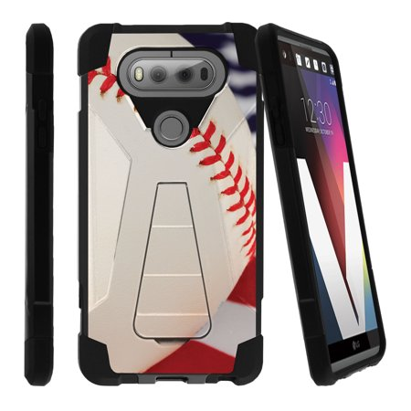 LG V20 SHOCK FUSION Heavy Duty Dual Layer Shock Impact Resistant Case with Built In Kickstand | Baseball Collection | - Baseball Seams
