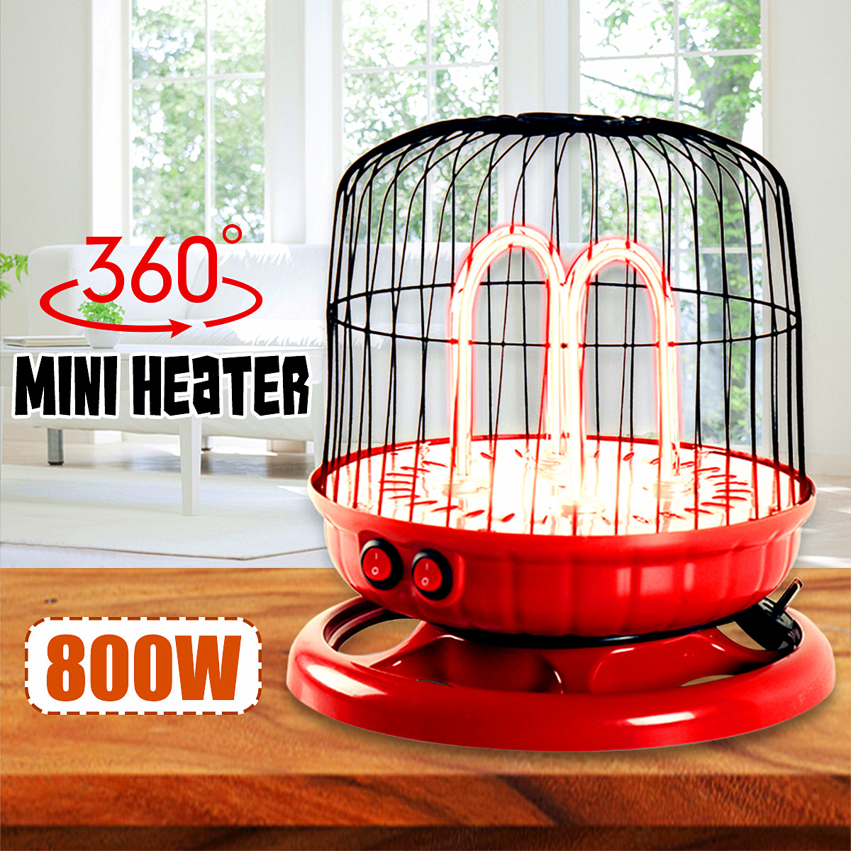 Desktop Electric Heater 800W 220V Home office Mini Table Heater Bird Cage Shape(Red) Warm LOVE Valentine Gift