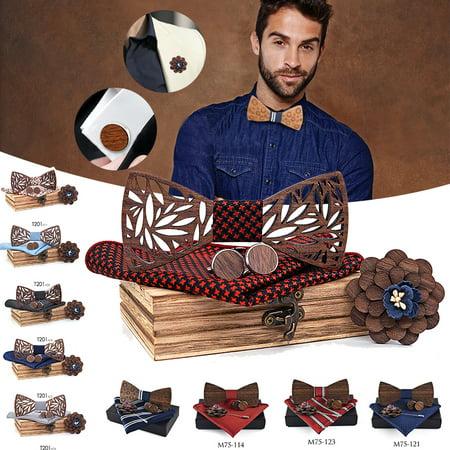 Mens Wooden Bow Tie Set Men Handkerchief wood Bowtie Cufflinks Necktie Silk Ties For Business Wedding Party with Gift Box
