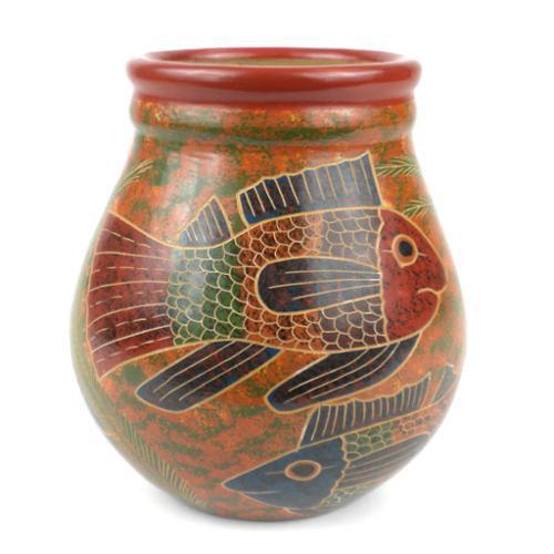 Global Crafts Handmade 6-inch Tall Vase - Fish Design (Nicaragua)
