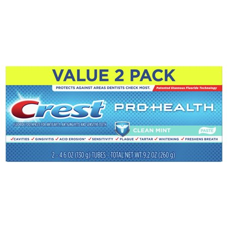 Crest Pro-Health Smooth Formula Toothpaste, Clean Mint, 4.6 oz, 2 pk