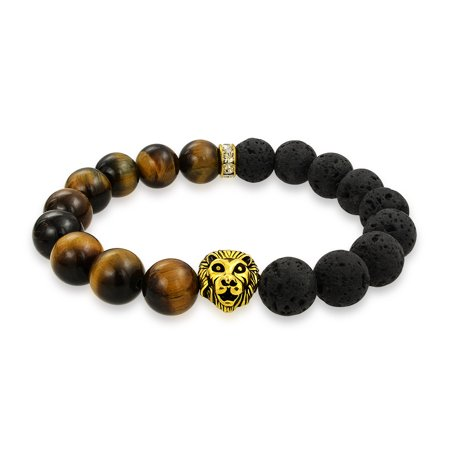 Lion Head Brown Tiger Eye Black Onyx Round Bead Strand Stretch Beads Bracelet For Women For Men Gold Plated Or Stainless ()