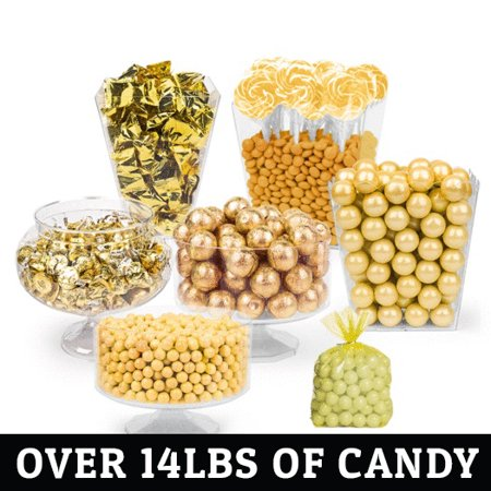 Gold Candy Buffet - (Approx 14lbs) Includes Hershey's Kisses, Sixlets,Gumballs, Dum Dum Lollipops, Frooties & More (Buffet Candy)