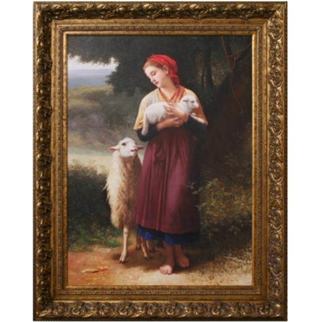 Artmasters Collection PA88529-805AG Sheep Lady Framed Oil Painting
