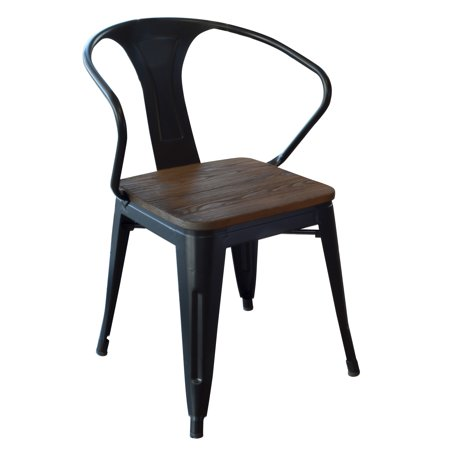 Amerihome Loft Black Metal Dining Chair With Wood Seat 4 Piece