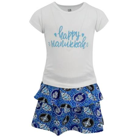 Hanukkah Dress - Girls Happy Hanukkah Dreidel Print Skirt Dress (8/XXXL)