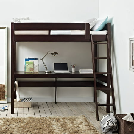 Dorel Living Harlan Twin Size Loft Bed with Desk and Ladder, Espresso