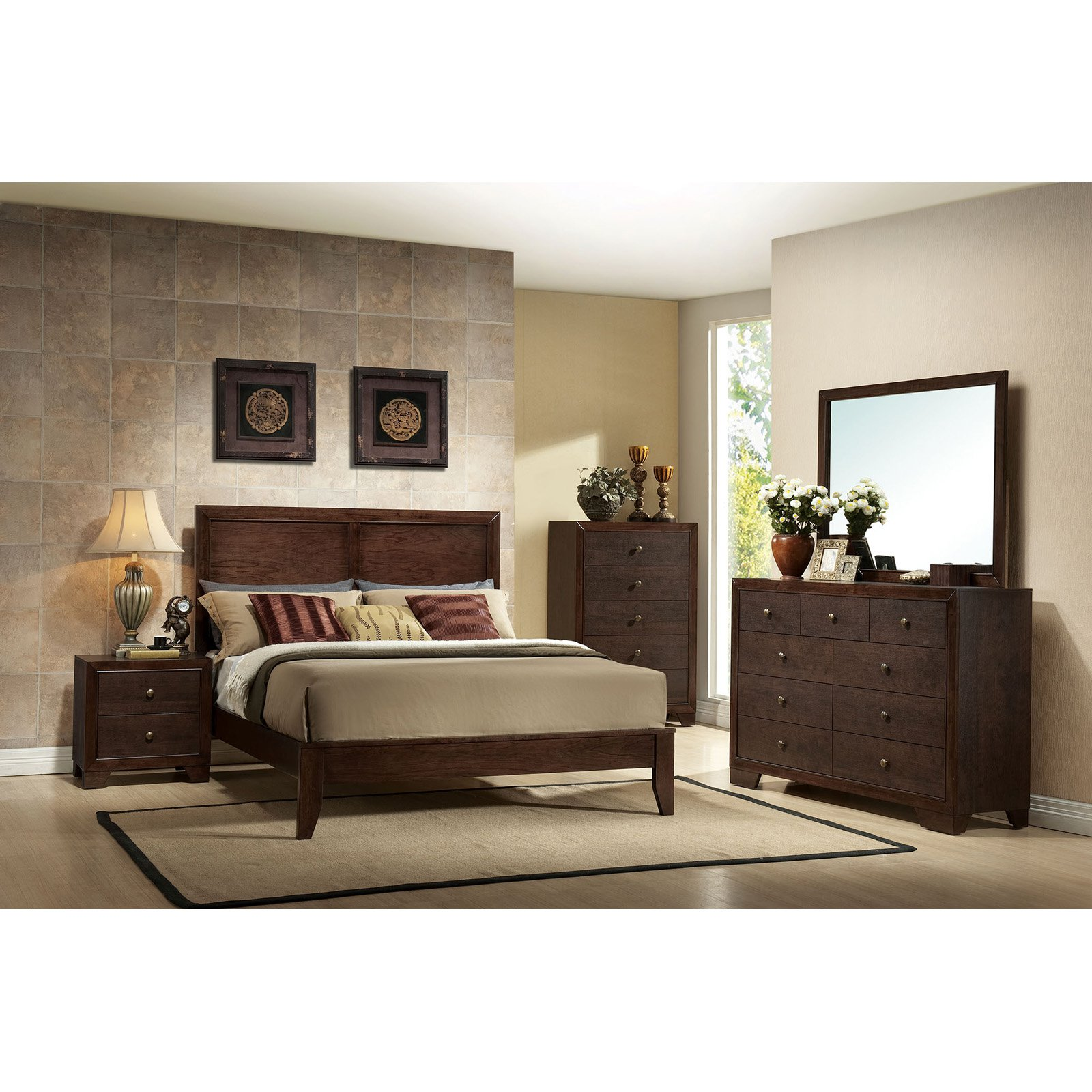 Panel bed platform bedframe bedroom sleeper new studio rubberwood queen espresso