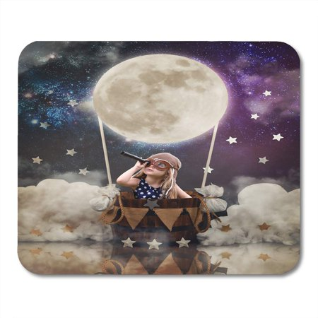 KDAGR Little Girl is Sitting in Hot Air Balloon Moon Basket with Stars The Sky Pretending to Travel and Fly Mousepad Mouse Pad Mouse Mat 9x10