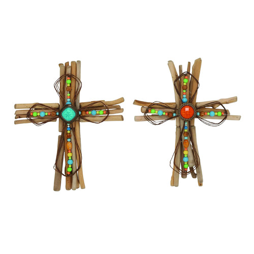 Woodland Imports 2 Piece Creative Wood   Metal Cross Wall Decor Set by Woodland Imports
