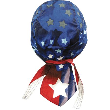 Image of American Flag Skull Cap Patriotic Doo Rag Red White and Blue (Red White Blue RWB Big Star)