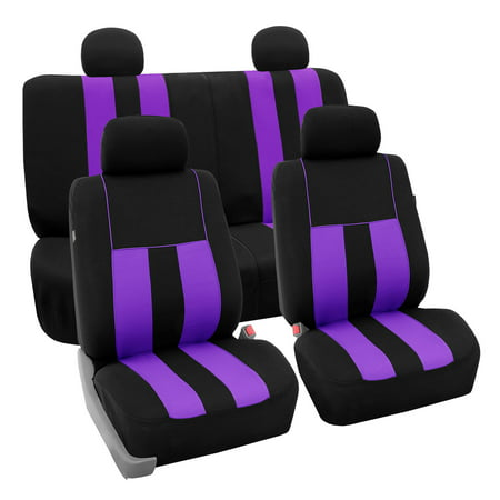 Purple Car Seat Cover - FH Group Striking Striped Seat Covers fro Auto, 4 Headrest Cover Full Set,  Black and Purple